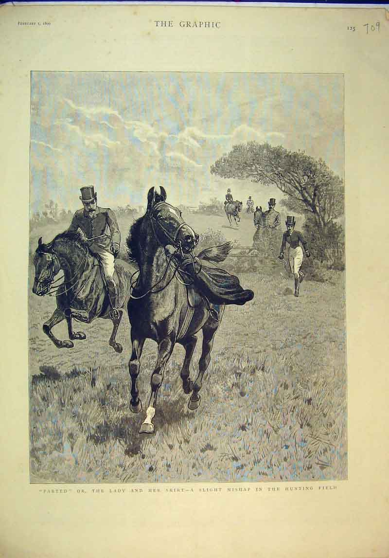 Print Hunting Field Accident Fence 1890 Horses Country Scene 709B345 Old Original