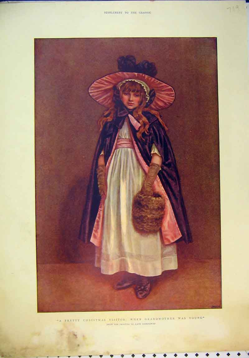 Print Colour Young Girl Christmas Visitor Kate Greenway 719B345 Old Original