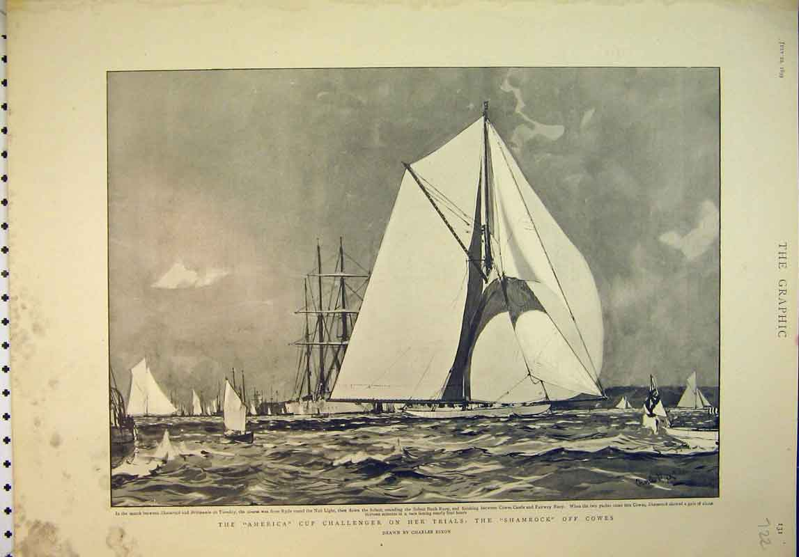 Print 1899 America Cup Challenger Shamrock Cowes Ship Race 722B345 Old Original