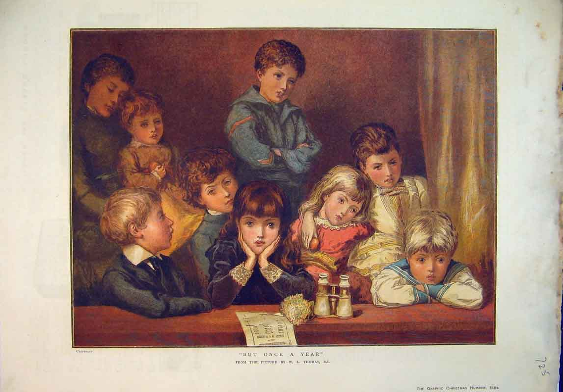 Print Colour 1884 Hopefull Children Waiting Christmas 725B345 Old Original