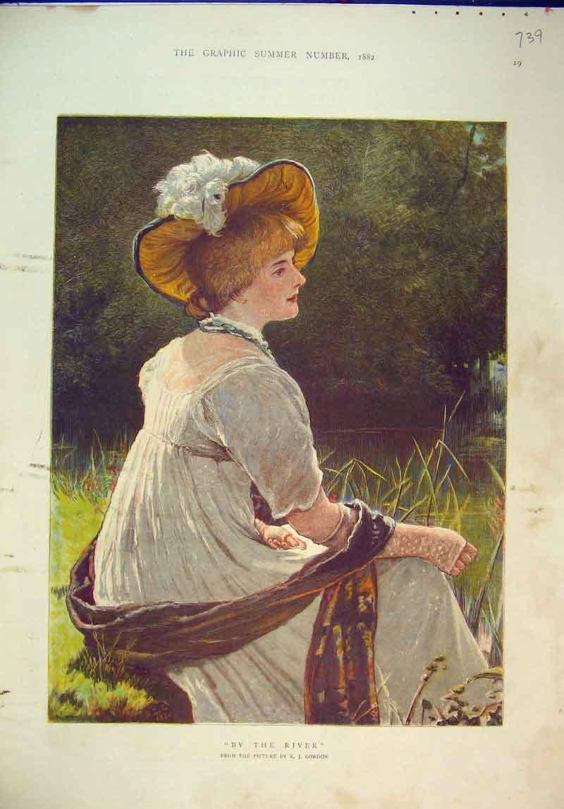 Print 1882 Colour Beautiful Lady River Scene Gordon 739B345 Old Original