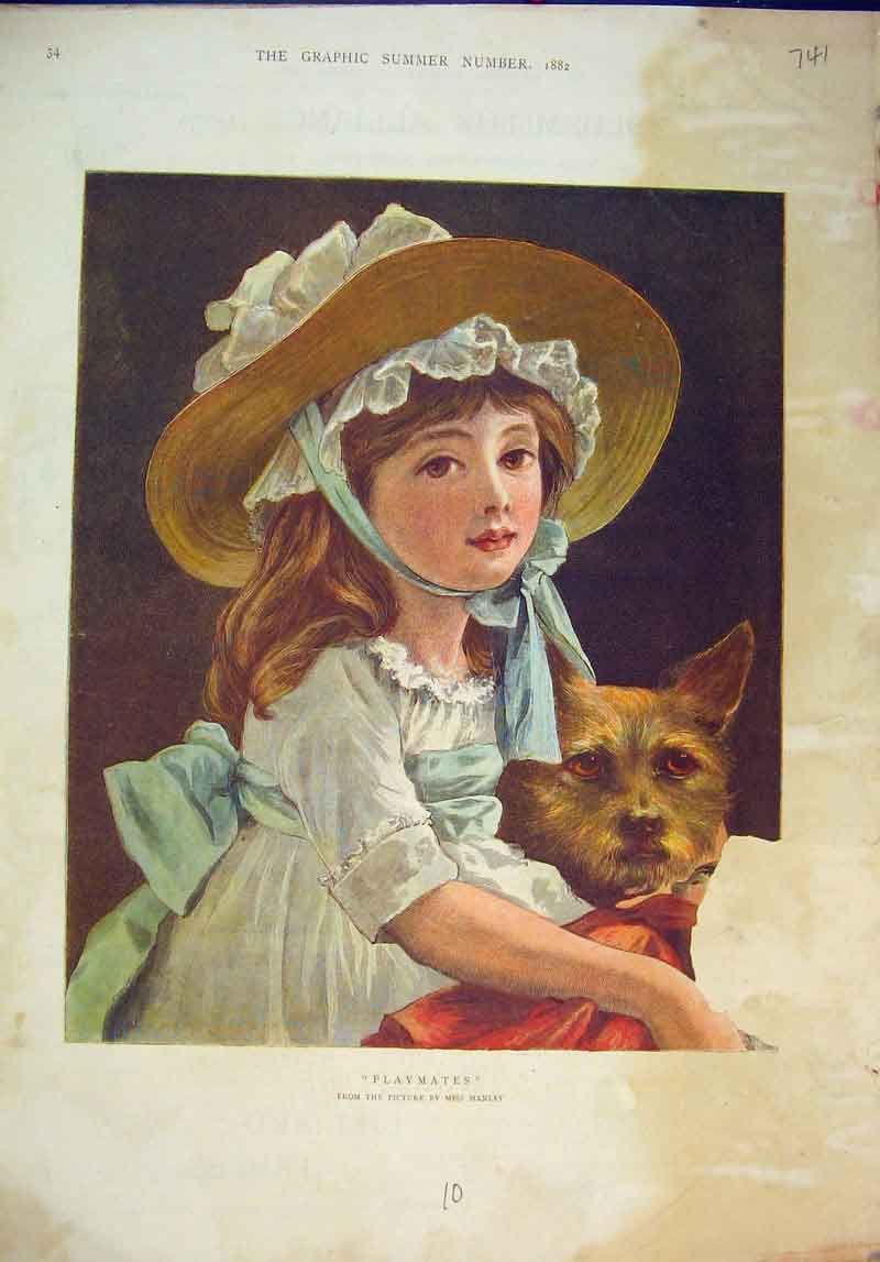 Print Colour 1882 Playmates Young Girl Puppy Dog 741B345 Old Original