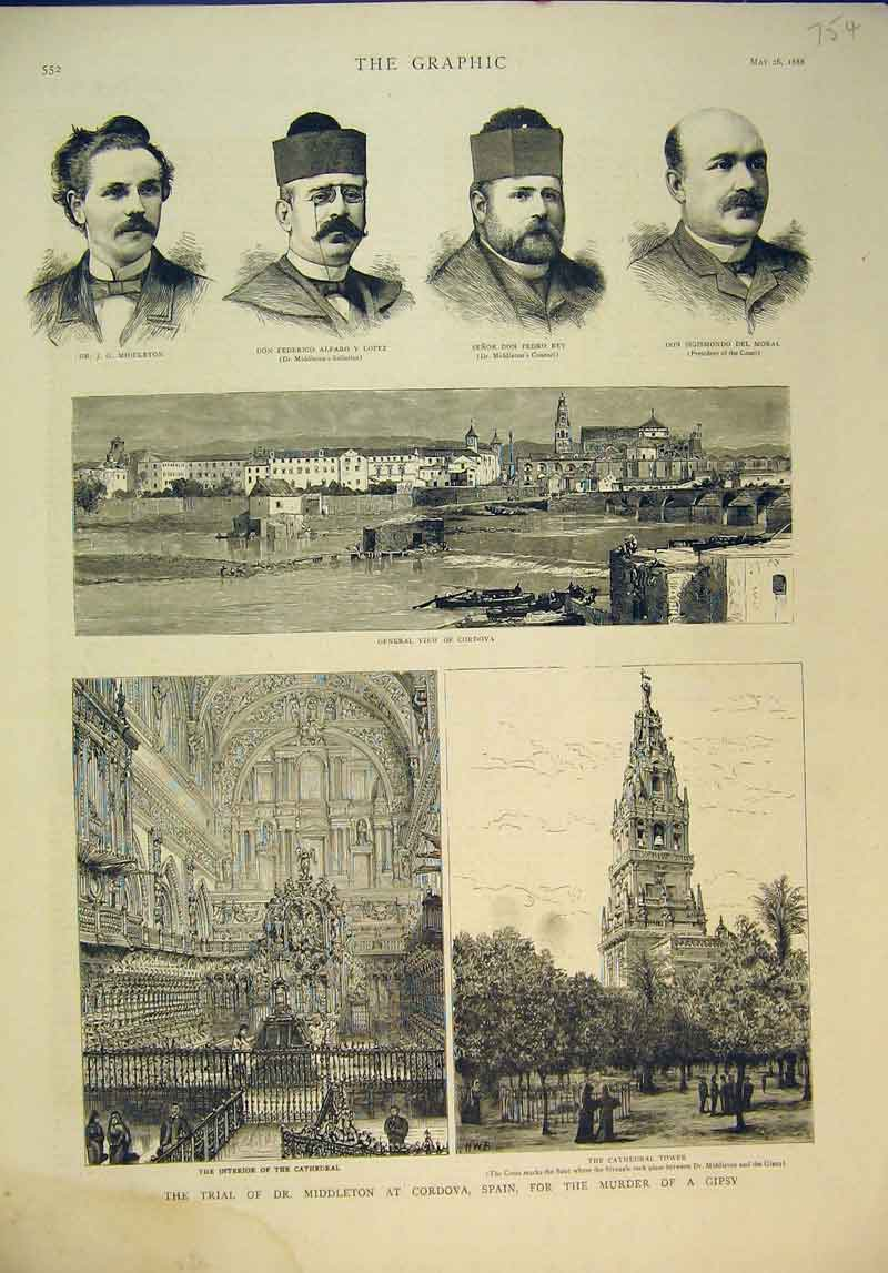 Print 1888 Trial Middleton Cordova Spain Murder Cathedral 754B345 Old Original