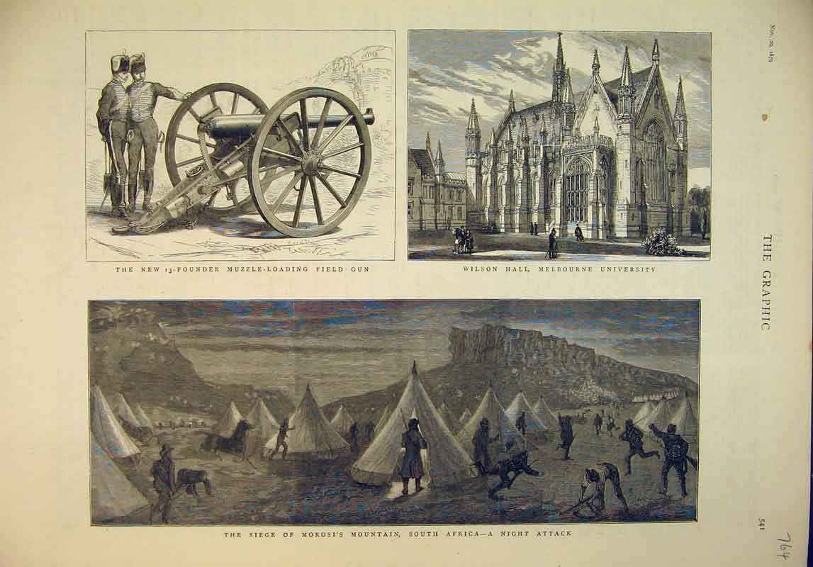 Print 1879 Morosi Mountain South Africa Attack Wilson Hall 764B345 Old Original