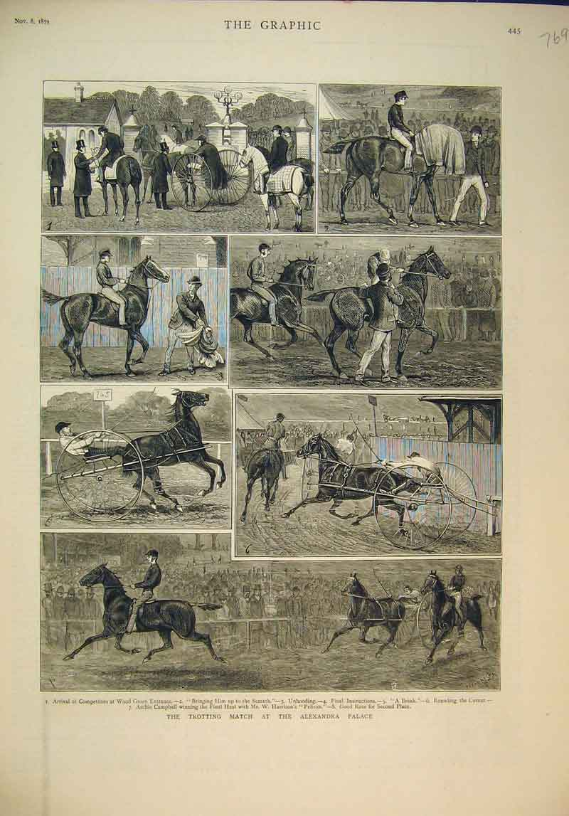 Print 1879 Trotting Match Alexandria Palace Horse Racing 769B345 Old Original