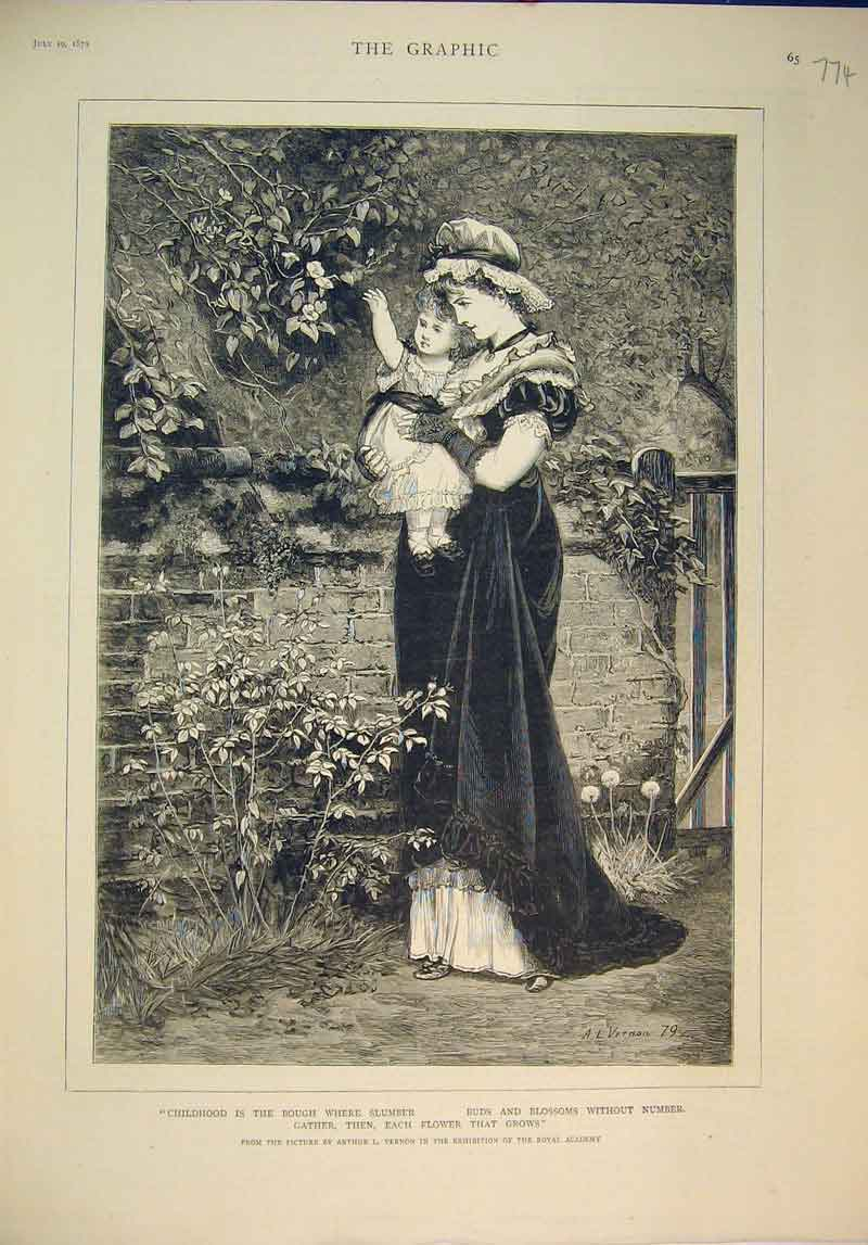 Print Fine Art Mother Child Garden Flowers Trees 1879 Vernon 774B345 Old Original