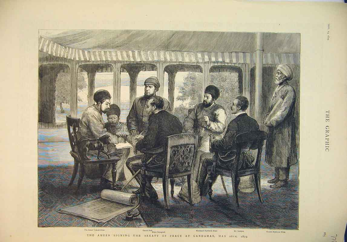 Print 1879 Ameer Signing Treaty Peace Gandamak Khan Shah 776B345 Old Original