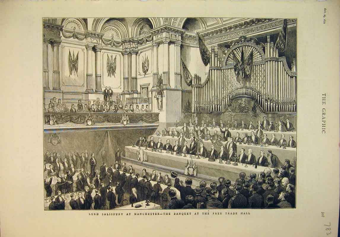 Print 1879 Lord Salisbury Manchester Banquet Free Trade Hall 783B345 Old Original