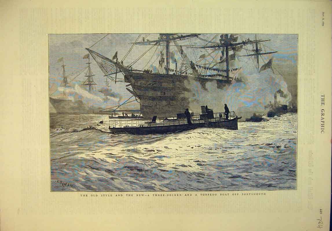 Print 1879 Three-Decker Torpedo Boat Portsmouth War Ship 784B345 Old Original