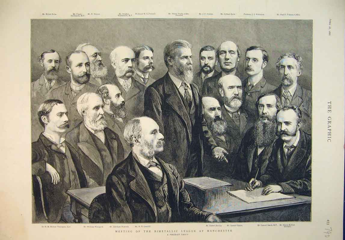 Print 1888 Meeting Bimetallic League Manchester Men Haworth 790B345 Old Original