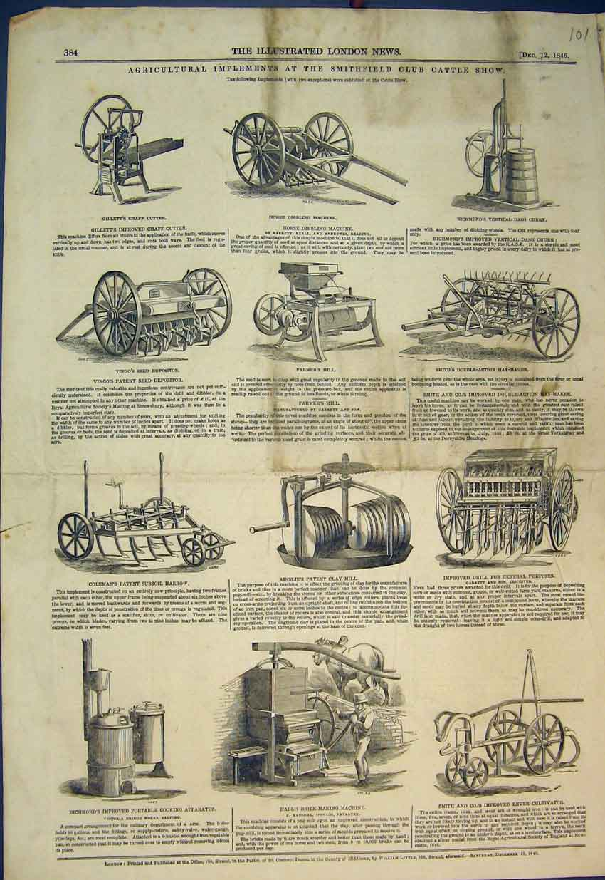 Print 1846 Agricultural Farm Machines Smithfield Cattle Show 101B351 Old Original