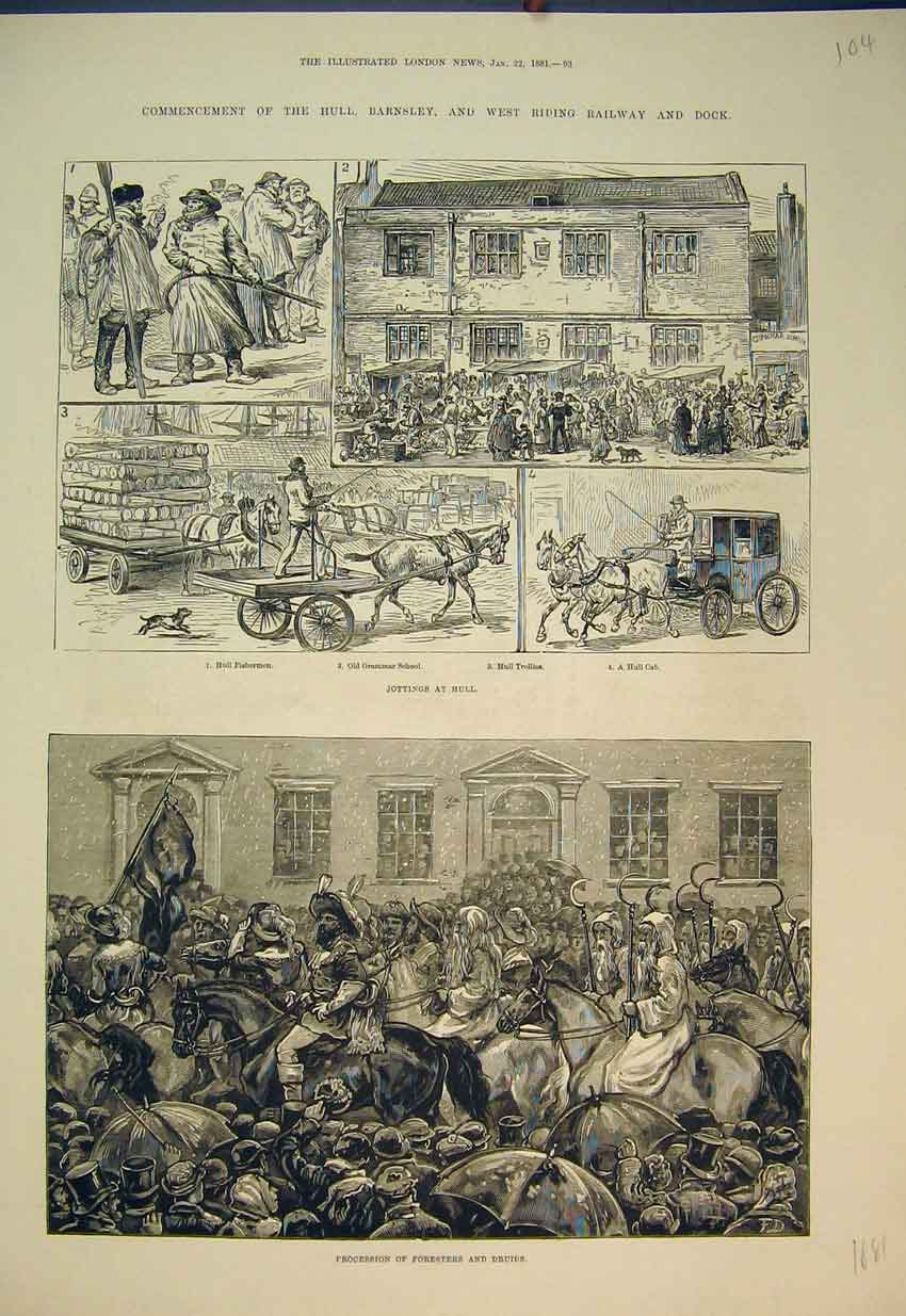Print 1881 Procession Foresters Druids Grammar School Hull 104B351 Old Original