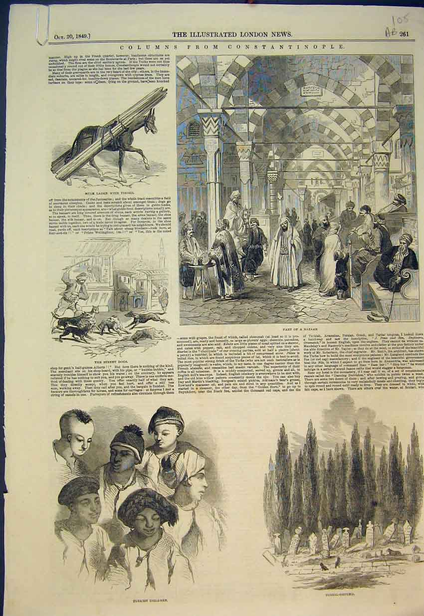 Print 1849 Constaninople Burail Ground Bazaar Slave Porter 105B351 Old Original