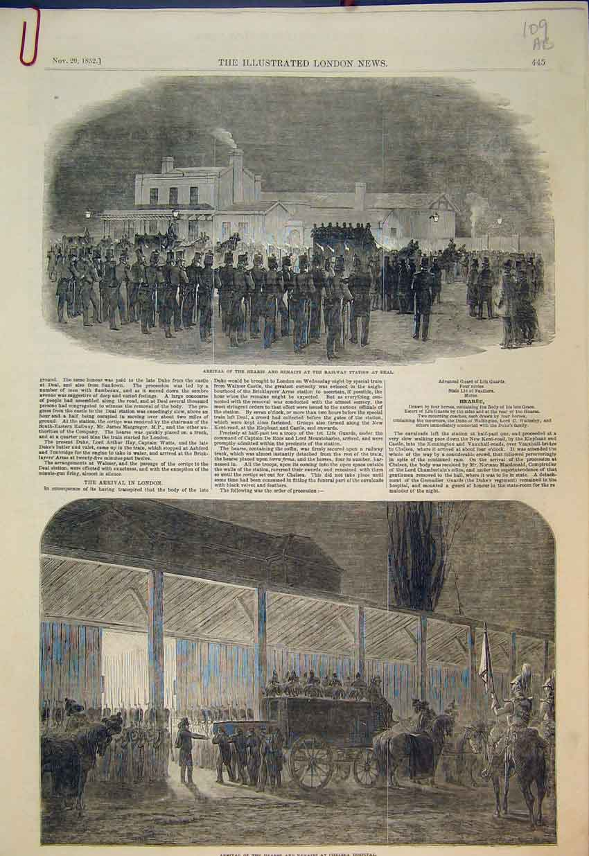 Print 1852 Queen Chelsea Hospital Railway Station Deal Hearse 109B351 Old Original