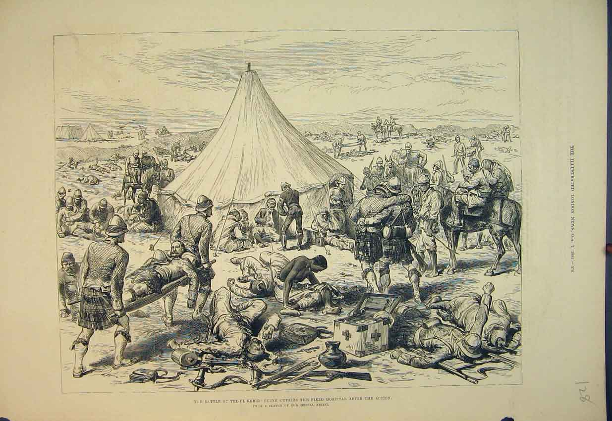 Print 1882 Battle Tel-El Kebir Field Hospital War Tents Horse 128B351 Old Original