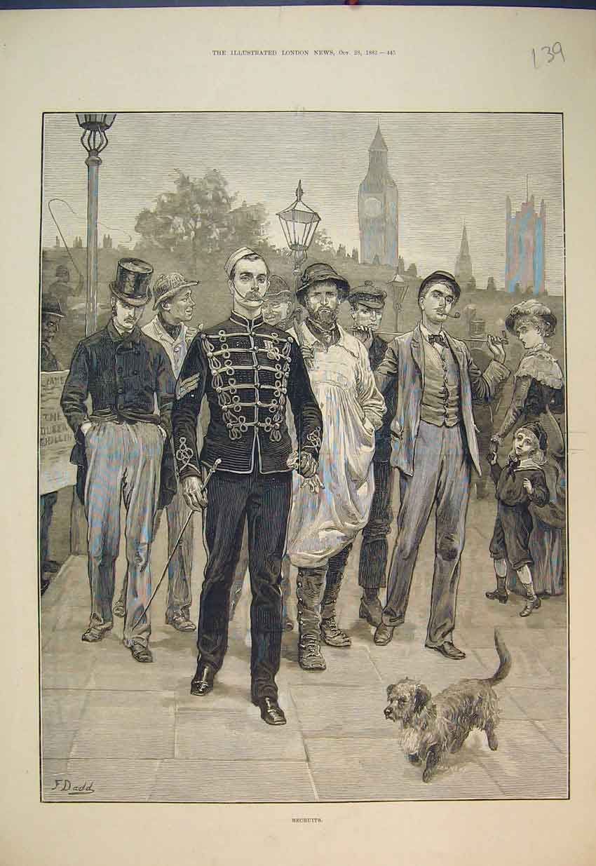 Print 1882 Street Scene Recruits Soldiers Dog 139B351 Old Original