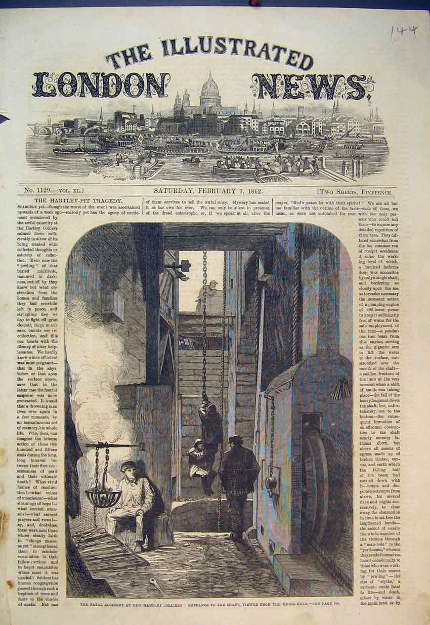 Print 1862 Fatal Accident Hartley Colliery Shaft Horse-Hole 144B351 Old Original