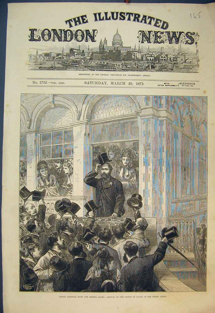 Print 1873 Grand National Hunt Bristol Races Prince Wales 165B351 Old Original