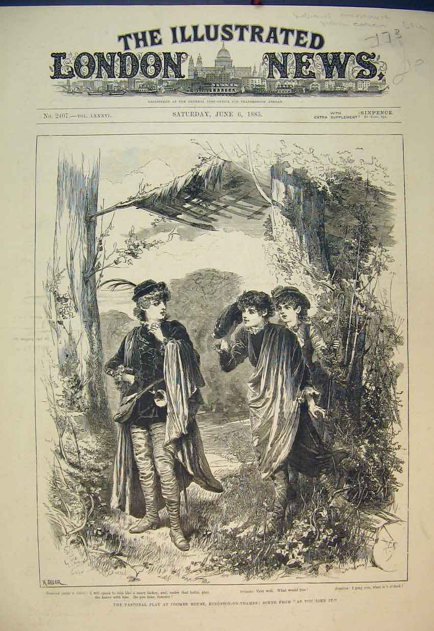 Print Pastoral Play Coombe House 1885 Theatre As You Like It 173B351 Old Original