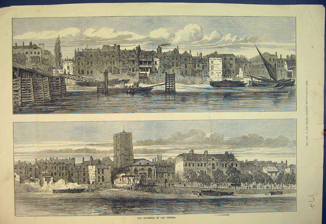 Print 1872 Riverside Chelsea Boats Bridge Buildings 174B351 Old Original