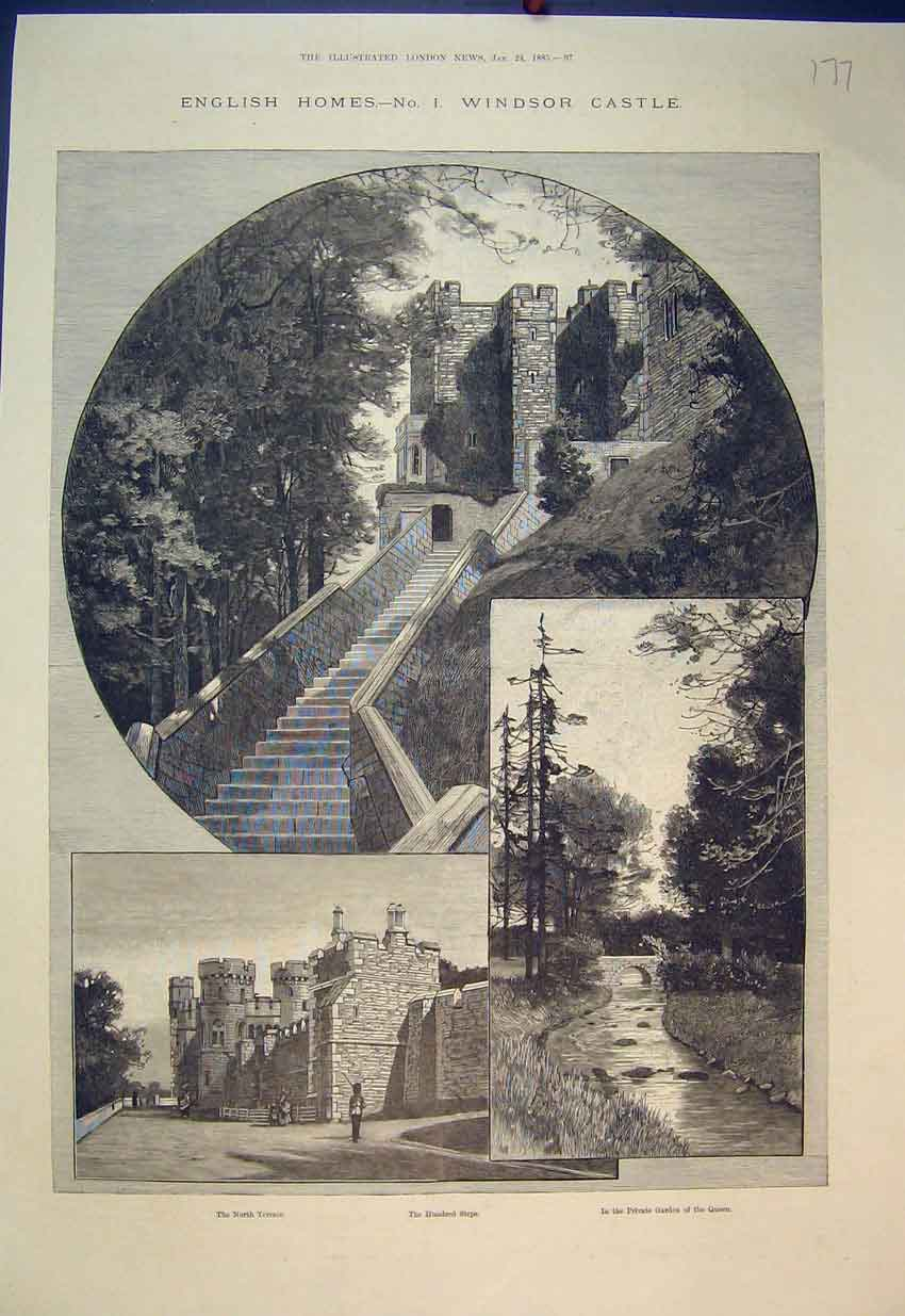 Print Windsor Castle 1885 North Terrace Private Garden Queen 177B351 Old Original