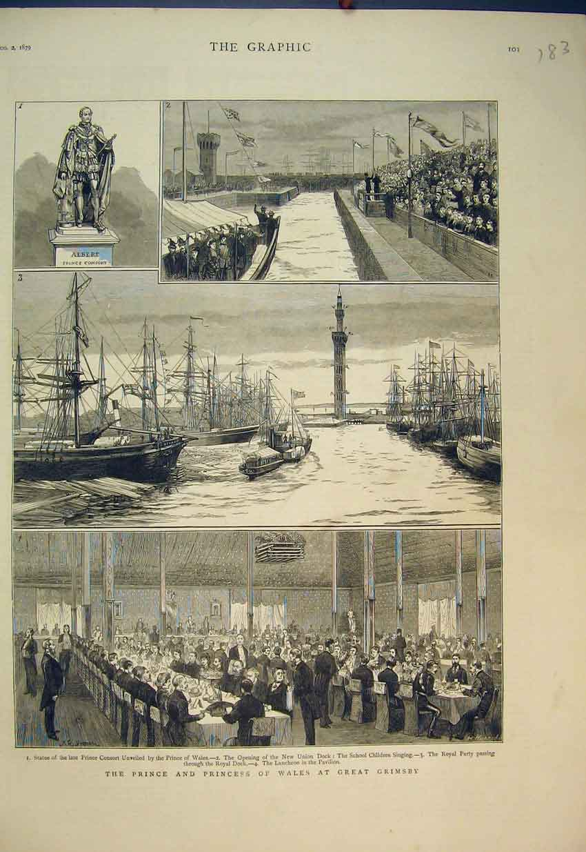 Print 1879 Prince Princess Wales Great Grimsby Dock Ships 183B351 Old Original