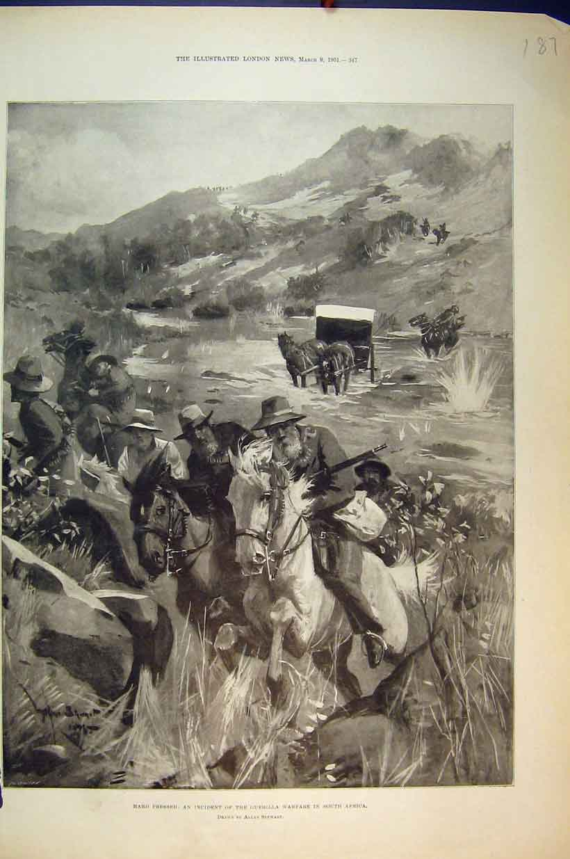 Print 1901 Country Scene Guerilla Warfare South Afrcia Horse 187B351 Old Original