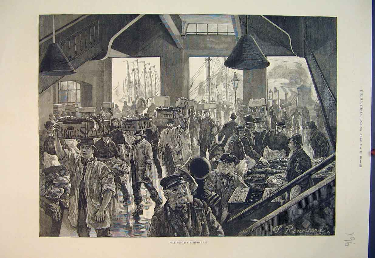 Print 1886 Scene Billingsgate Fish-Market Fine Art 196B351 Old Original