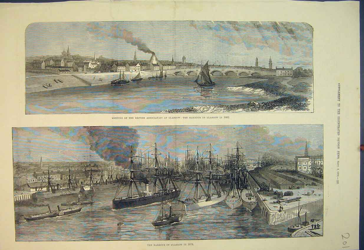 Print 1876 Glasgow Harbour Scotland Ships Bridge River 201B351 Old Original