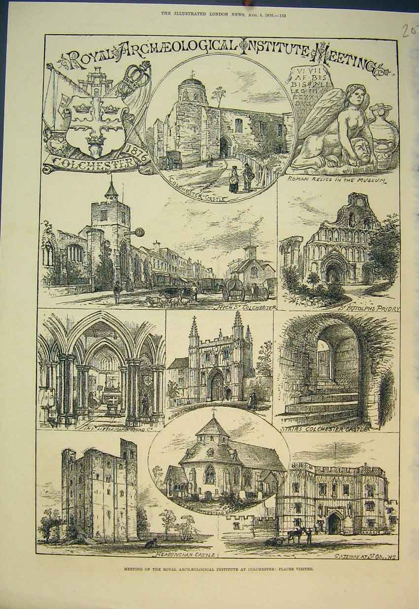 Print 1876 Archaeological Institute Colchester Priory Museum 202B351 Old Original