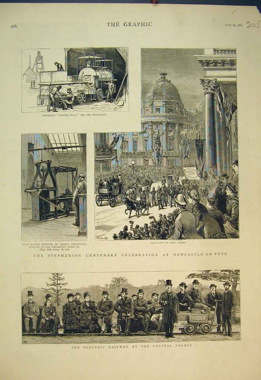 Print 1881 Electric Railway Crystal Palace Stephenson Engine 205B351 Old Original