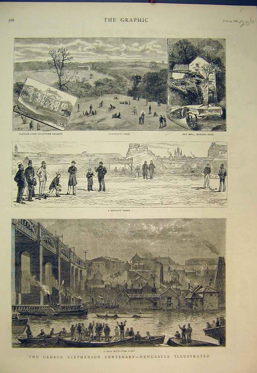 Print 1881 George Stephenson Boat Race Bowling Green Mill 206B351 Old Original