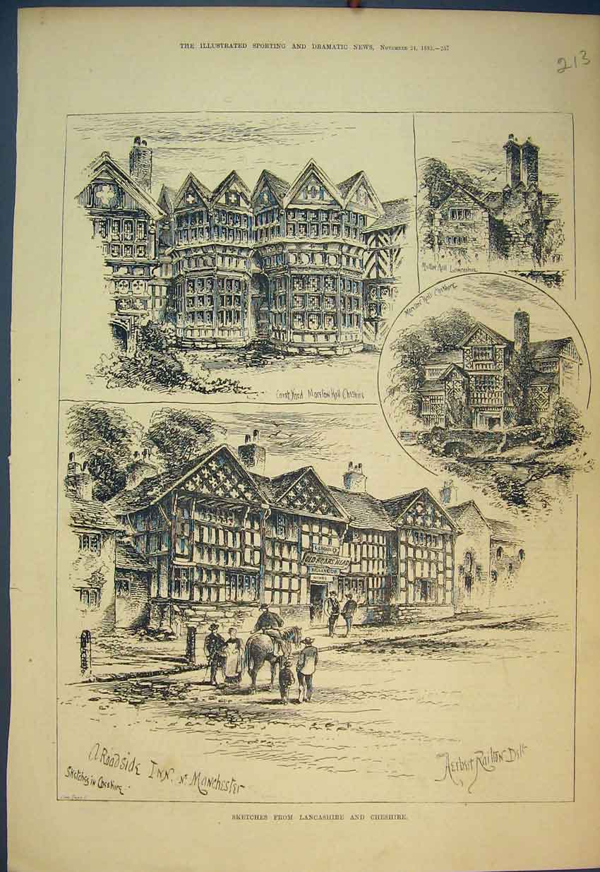 Print 1883 Lancashire Cheshire Moreton Hall Boars Head Inn 213B351 Old Original