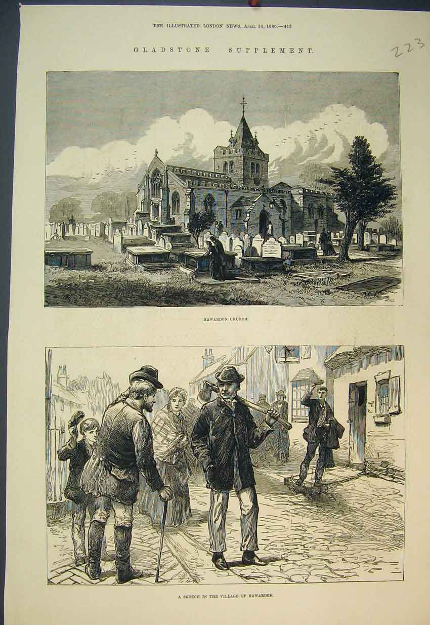 Print 1880 Gladstone Hawarden Church Village Street Scene 223B351 Old Original