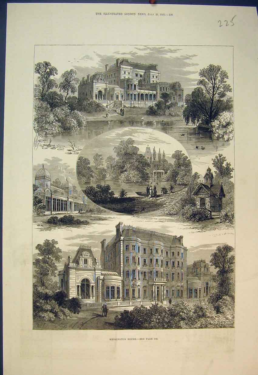 Print 1880 View Kensington House England Garden 225B351 Old Original