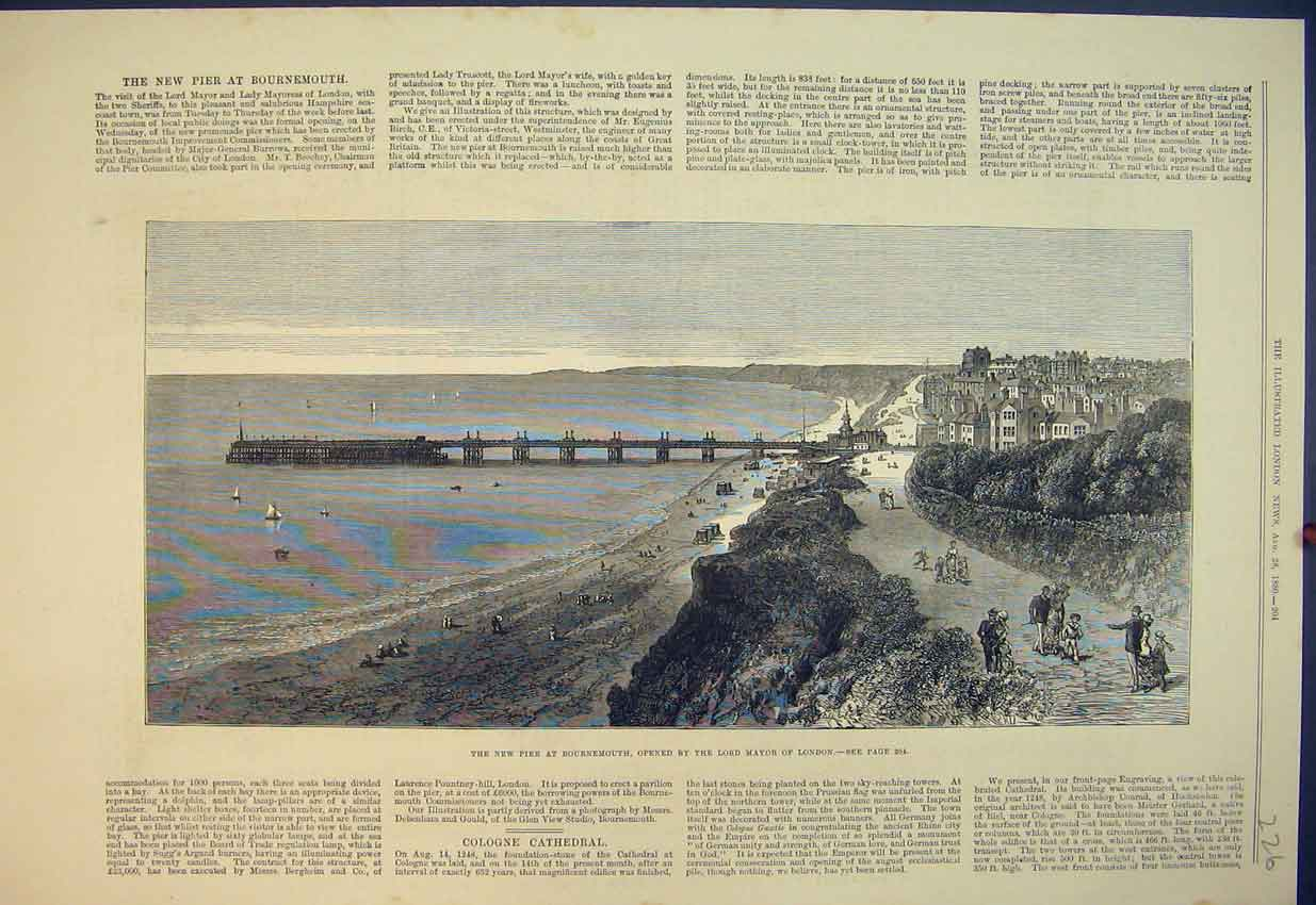 Print 1880 New Pier Bournemouth Lord Mayor London 226B351 Old Original