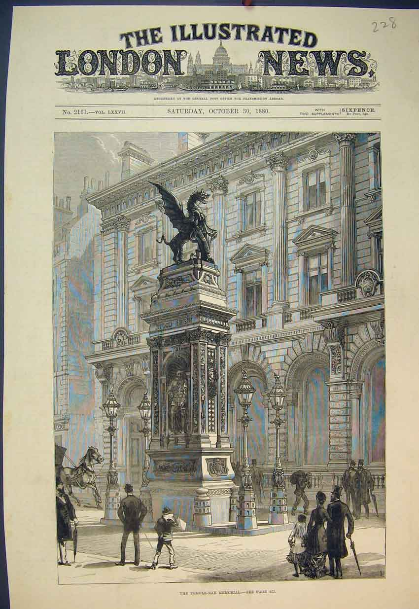 Print 1880 View Temple-Bar Memorial Statue Building 228B351 Old Original