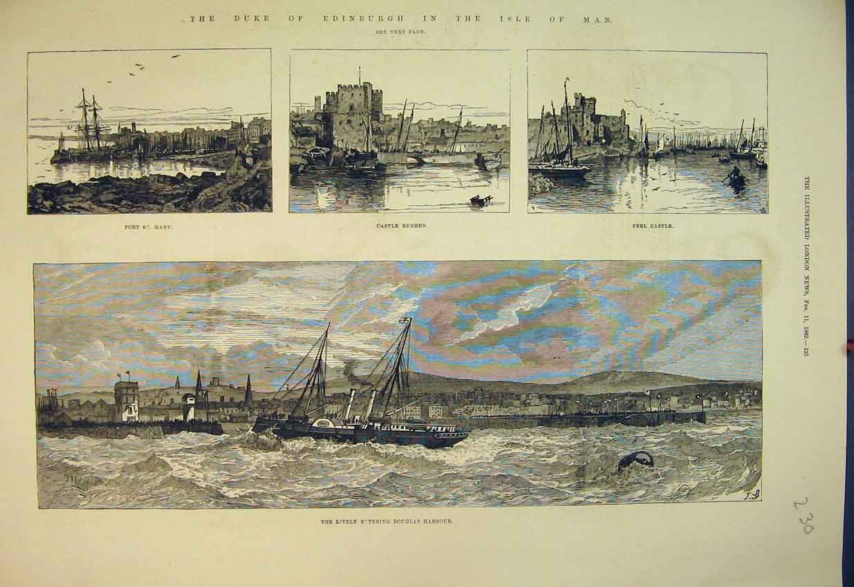 Print 1882 Duke Edinburgh Isle Man Castle Rushen Peel Castle 230B351 Old Original