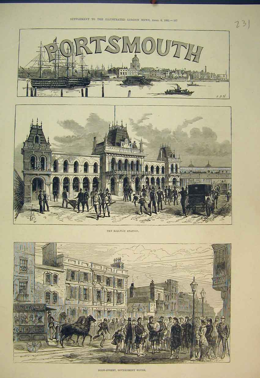 Print 1882 Portsmouth Railway Station Government House 231B351 Old Original