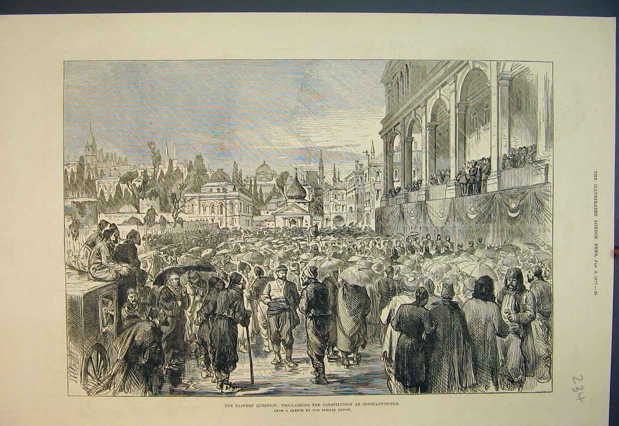 Print 1877 Proclaiming Constitution Constantinople Street 234B351 Old Original