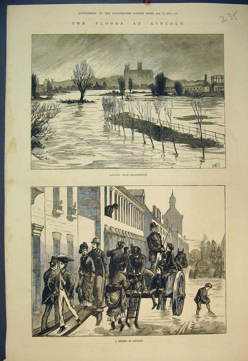 Print 1877 Floods Lincoln Bracebridge Street Scene Coach 235B351 Old Original