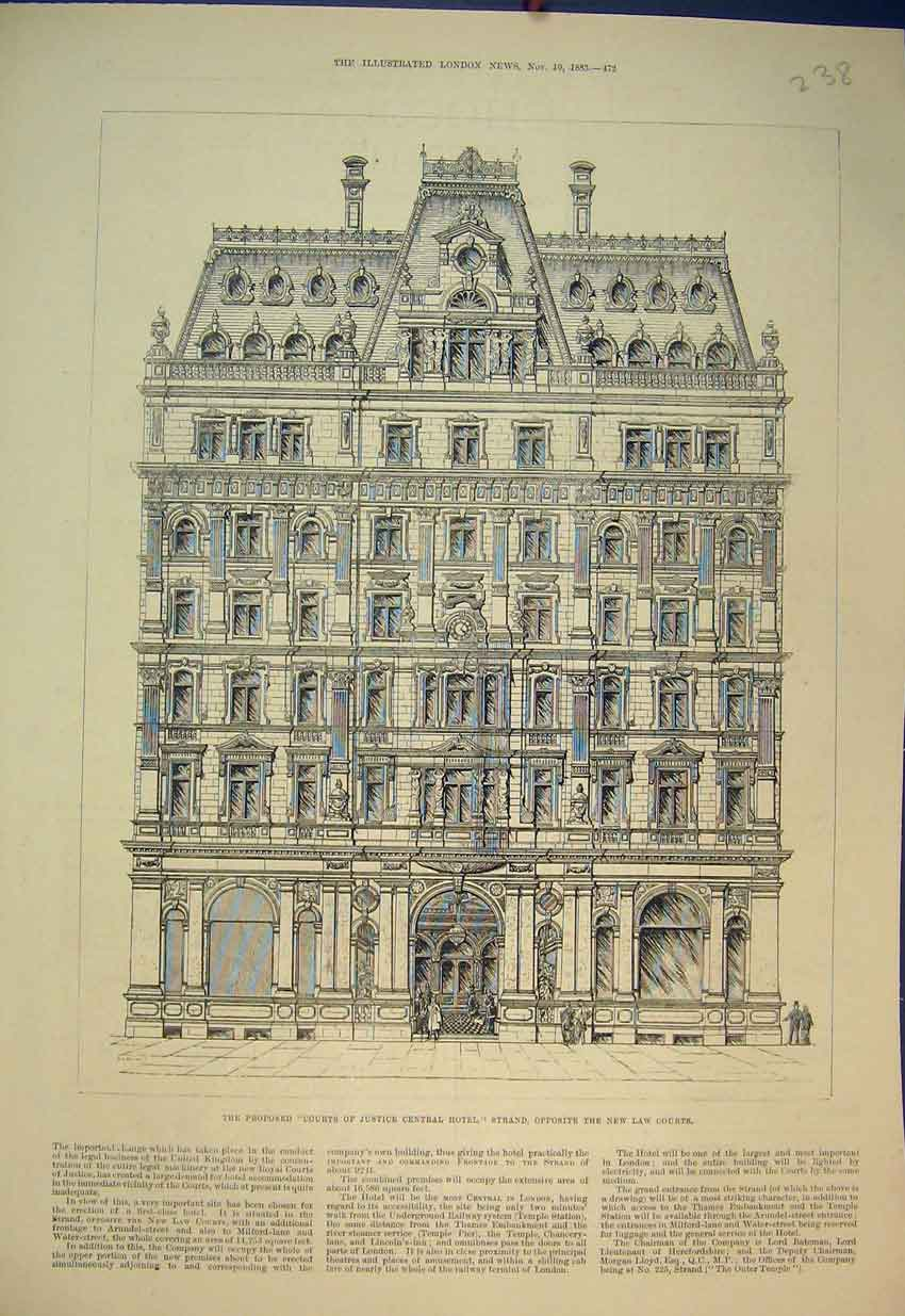 Print Courts Justice 1883 Central Hotel Strand London Street 238B351 Old Original