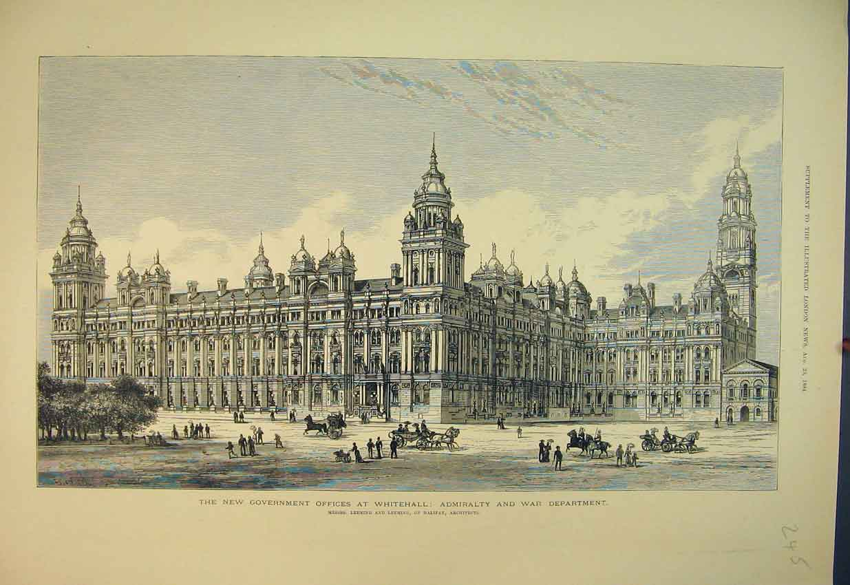Print 1884 Government Offices Whitehall Admiralty Department 245B351 Old Original