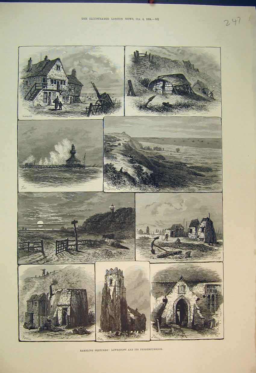 Print Rambling Sketches 1884 Lowestoft Corton Pier Ruins 247B351 Old Original