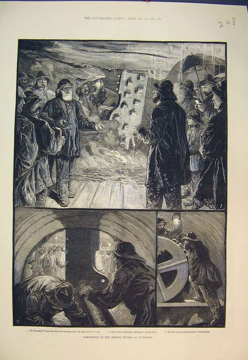 Print 1884 Mersey Tunnel Liverpool Beaumont Tunneling Machine 248B351 Old Original