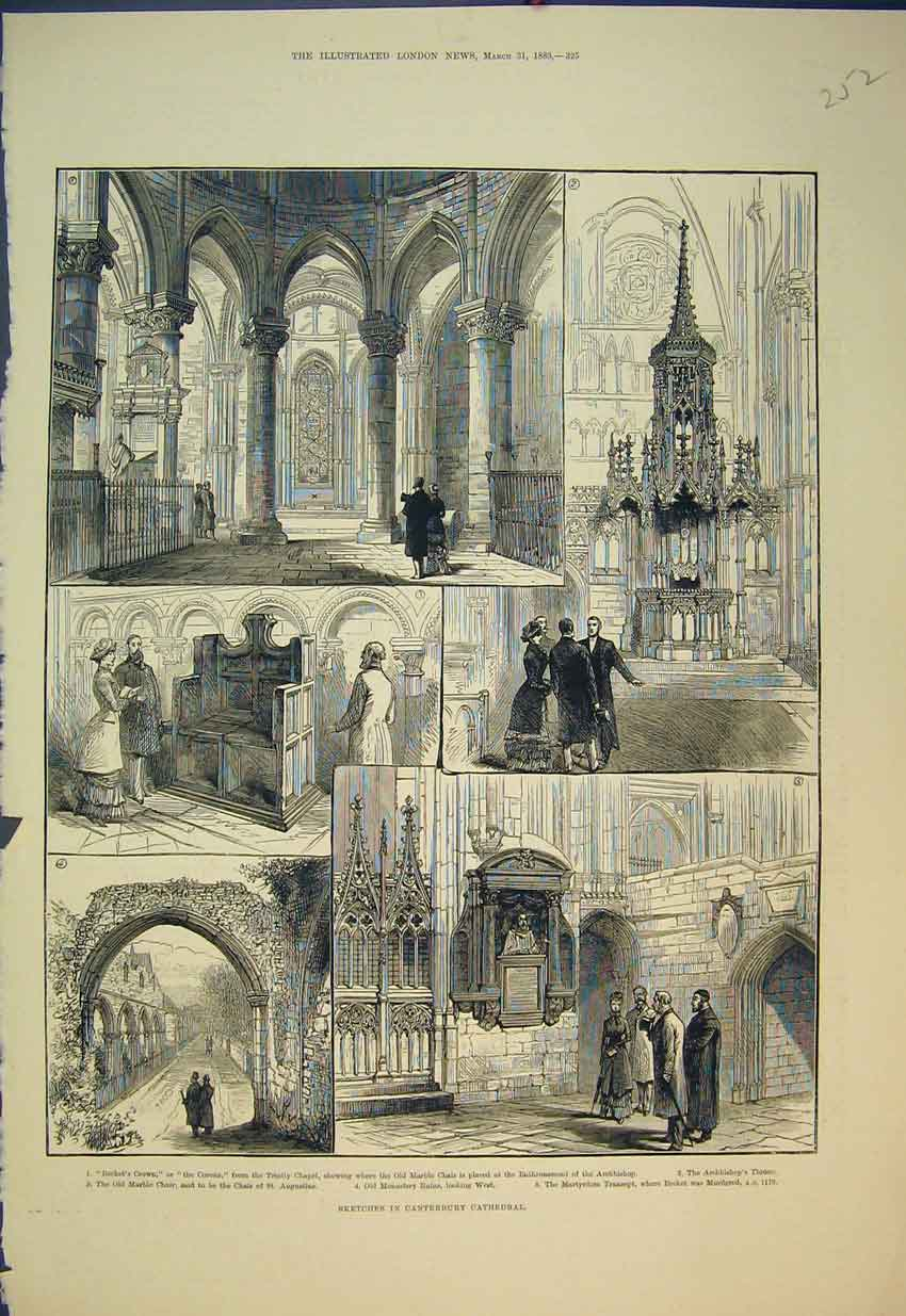 Print 1883 Canterbury Cathedral Becket'S Crown Monastery Ruin 252B351 Old Original