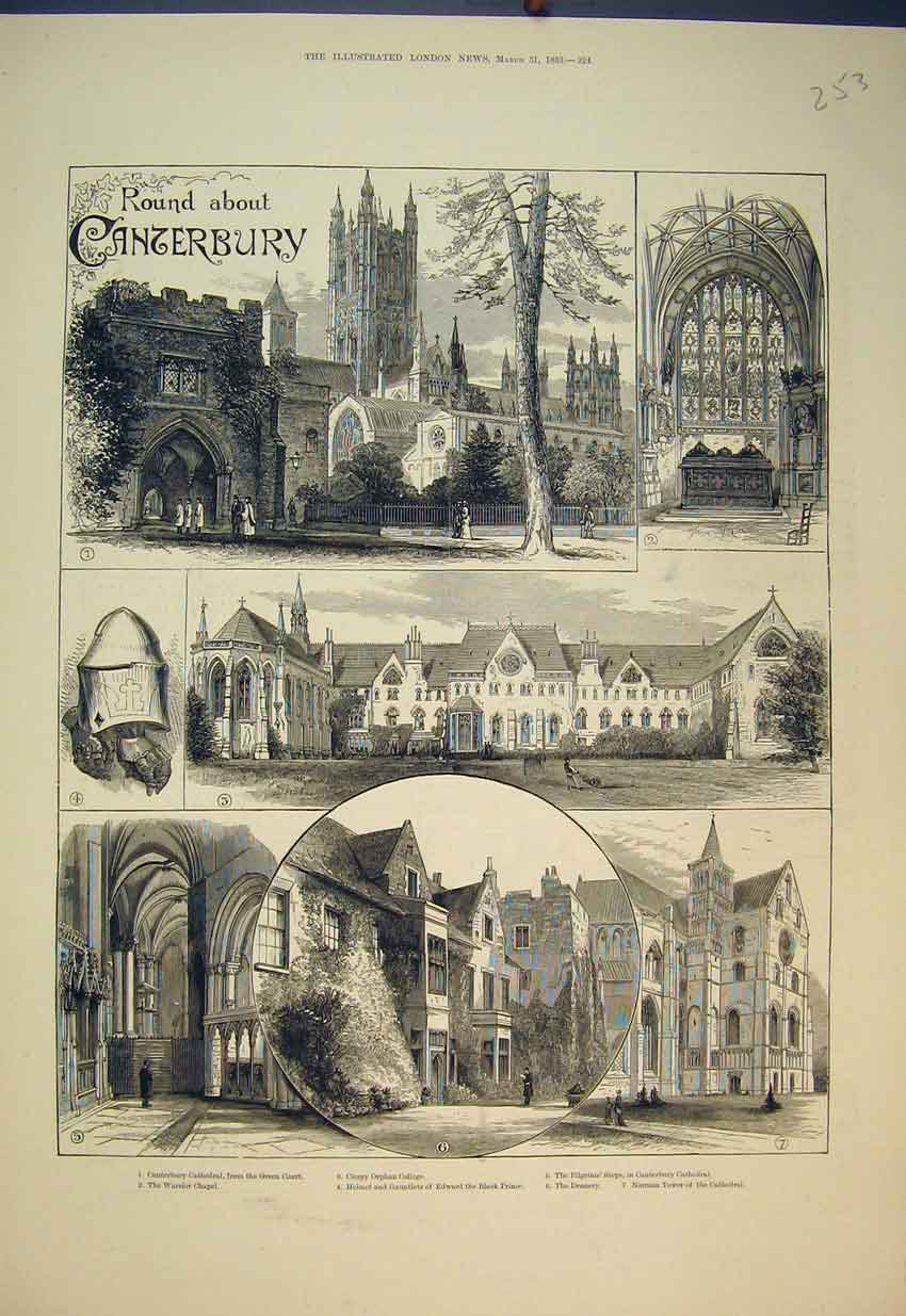 Print 1883 Canterbury Cathedral Orphan College Chapel Tower 253B351 Old Original