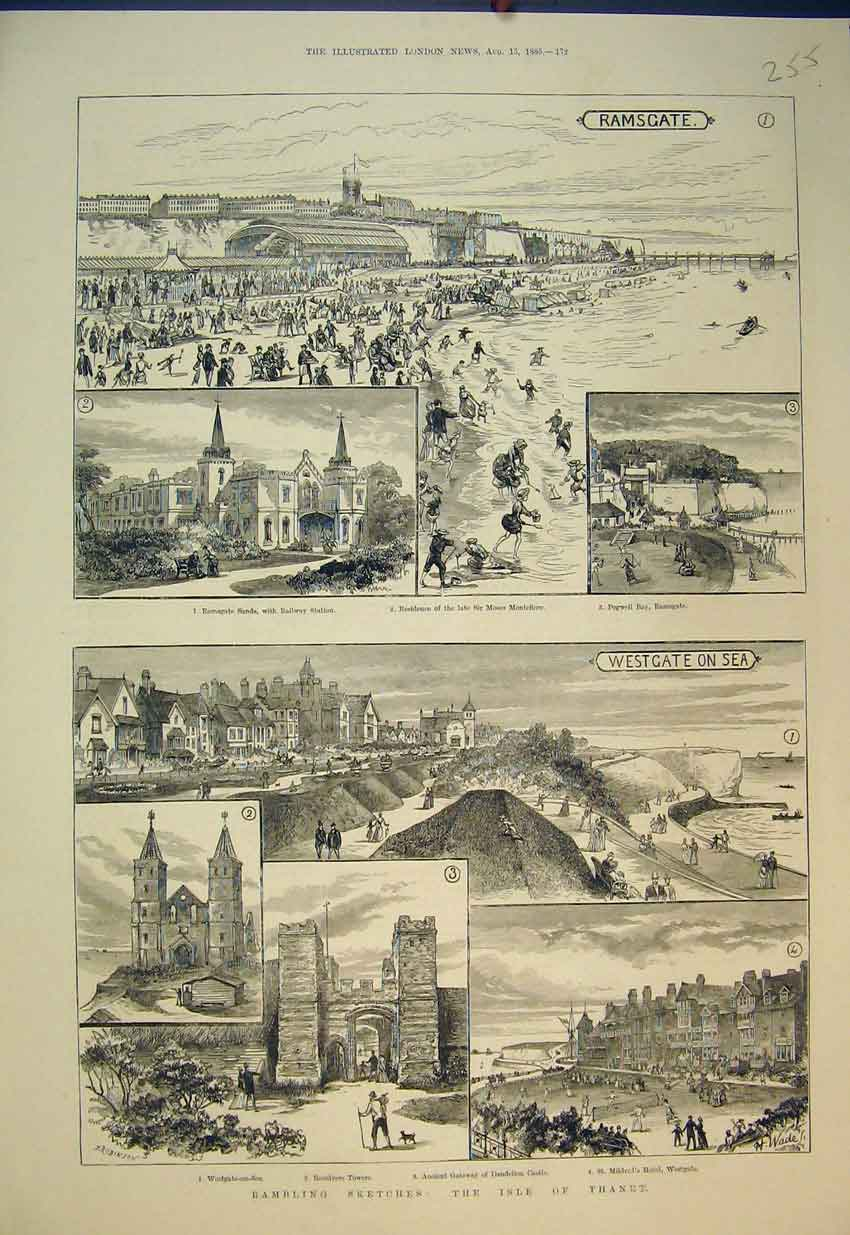 Print 1885 Isle Thanet Dandelion Castle Towers Hotel Westgate 255B351 Old Original