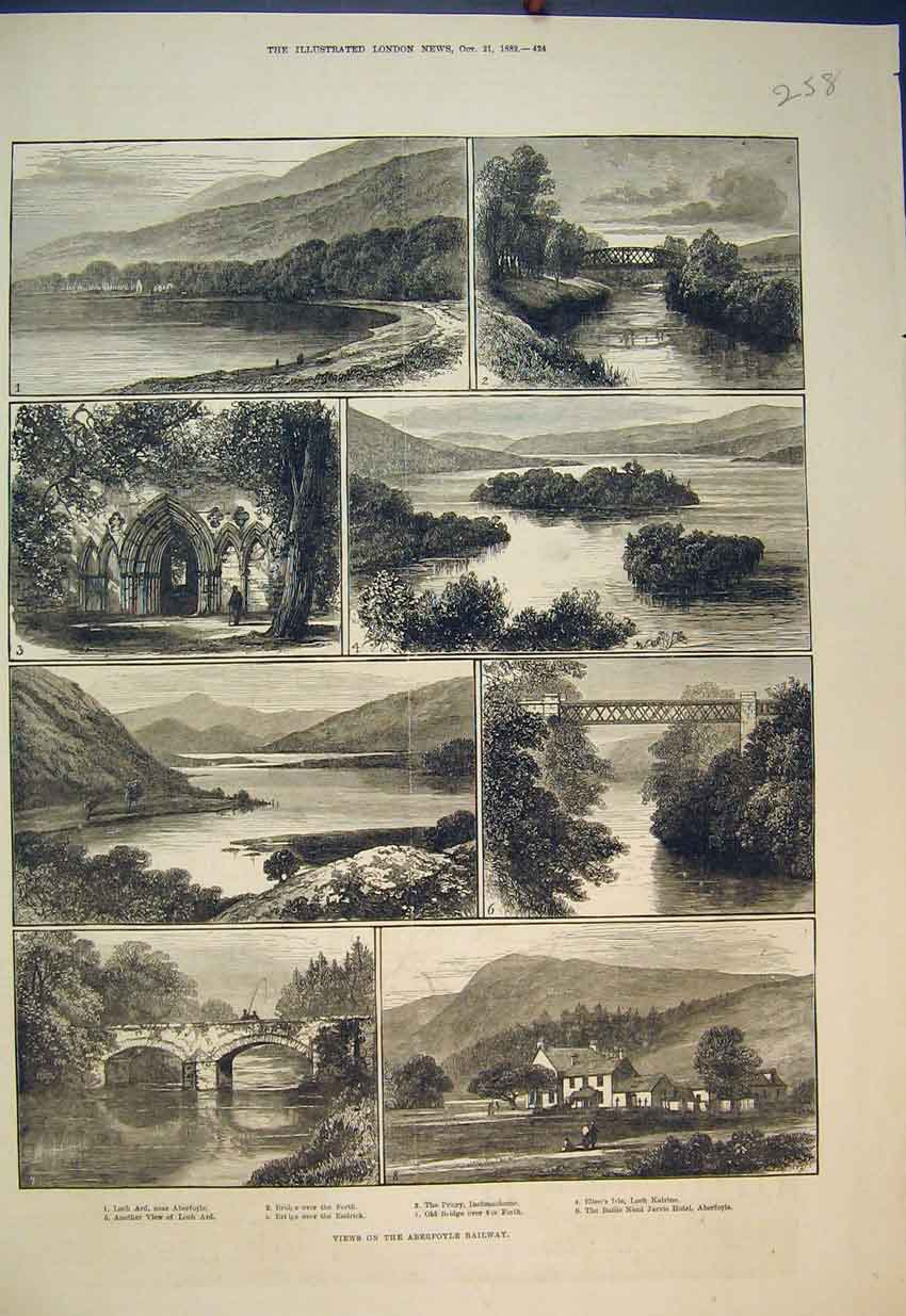 Print 1882 Aberfoyle Railway Bridge Forth Loch Ard Scotland 258B351 Old Original