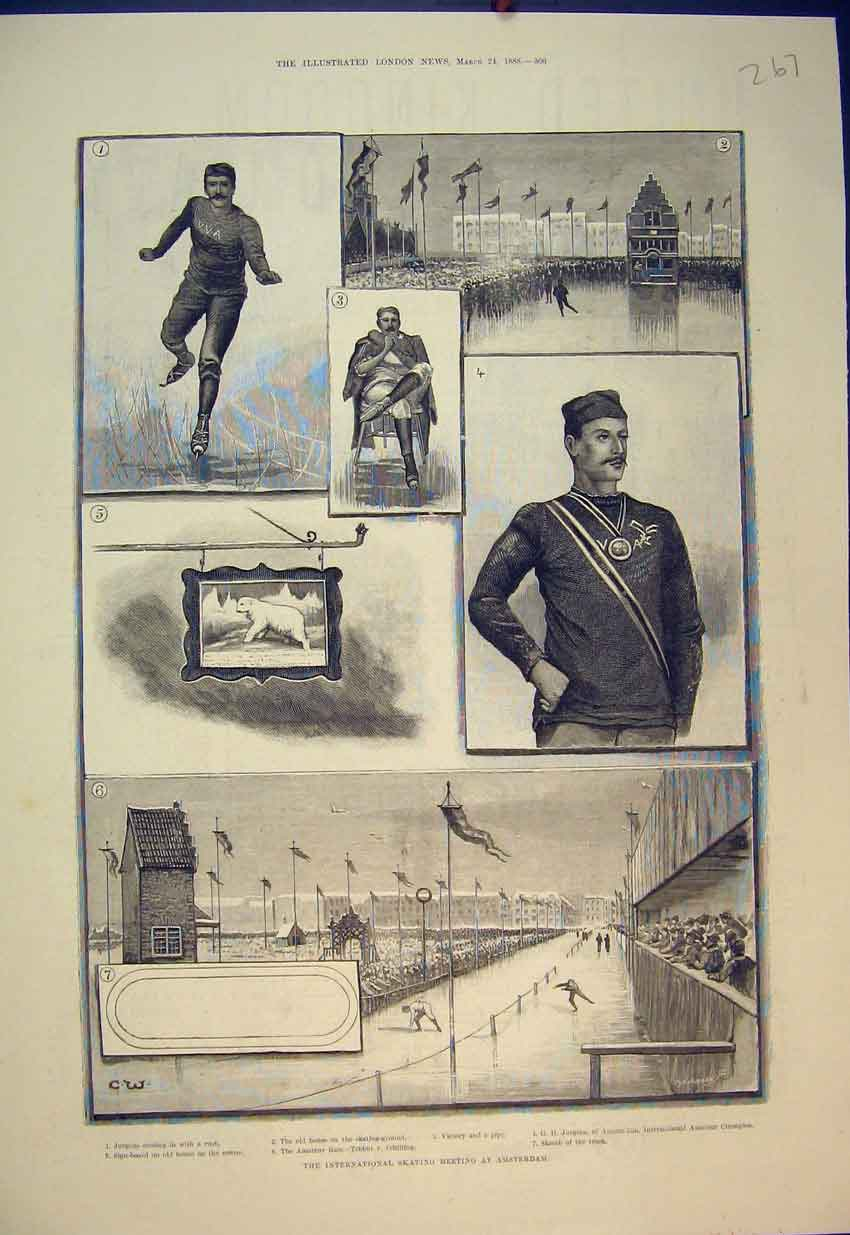 Print 1888 Ice Skting Meeting Amsterdam Jurgens Race Sport 267B351 Old Original